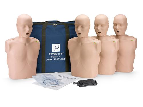 Prestan Professional Adult Jaw Thrust  CPR-AED  Training Manikins Medium Skin 4-Pack