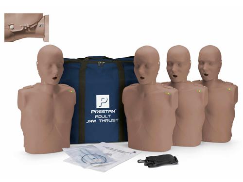 Prestan Professional Adult Jaw Thrust  CPR-AED  Training Manikins Dark Skin 4-Pack