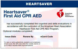 20-2826 IVE Heartsaver® First Aid CPR AED eCard