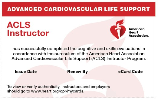 20-2818 IVE Advanced Cardiovascular Life Support (ACLS) Instructor eCard